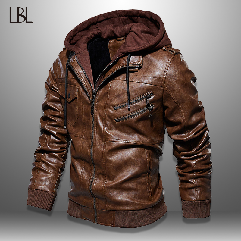 Mens PU Jackets Outwear Leather Hooded Biker Coat Men 2019 Cool Motorcycle Jacket Male Winter Autumn Jaquetas De Motocicleta 4XL