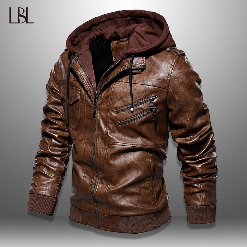 Mens PU Jackets Outwear Leather Hooded Biker Coat Men 2019 Cool Motorcycle Jacket Male Winter Autumn Jaquetas De Motocicleta 4XL