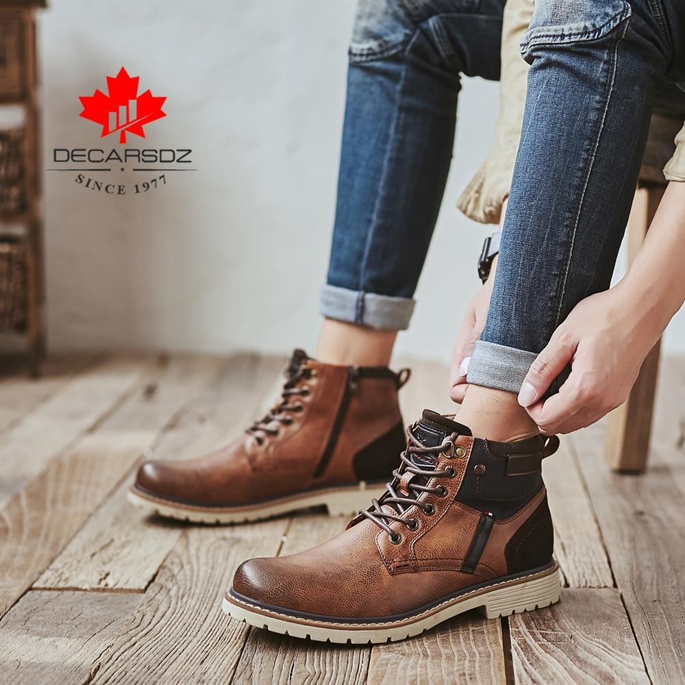 DECARSDZ Men Boots Autumn Comfy Durable outsole Lace-up Fashion Shoes Men 2020 Leather Casual Boots Men Brand design Men's Boots 4