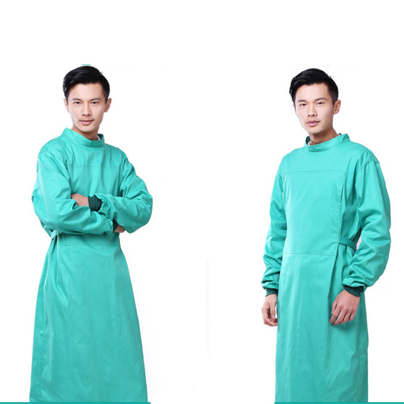 Image 5 - Long Sleeve Medical Suit Lab Coats Man Solid Green Hospital Scrub Uniform Surgical Gown Doctor Operating Slim Work WearSafety Clothing   -