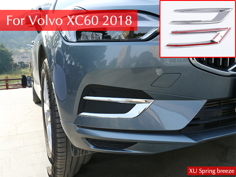 For <font><b>Volvo</b></font> XC60 <font><b>XC</b></font> <font><b>60</b></font> 2018 2019 ABS Chrome Car Front Foglight Fog Light Lamp Bezel Cover Trim Exterior Garnish Car-styling image
