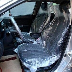Image 2 - أغطية مقاعد السيارة البلاستيكية الناعمة التي يمكن التخلص منها ، مجموعة من 50 أو 100 أغطية مقاومة للماء لأغطية عجلات القيادة التي يمكن التخلص منها