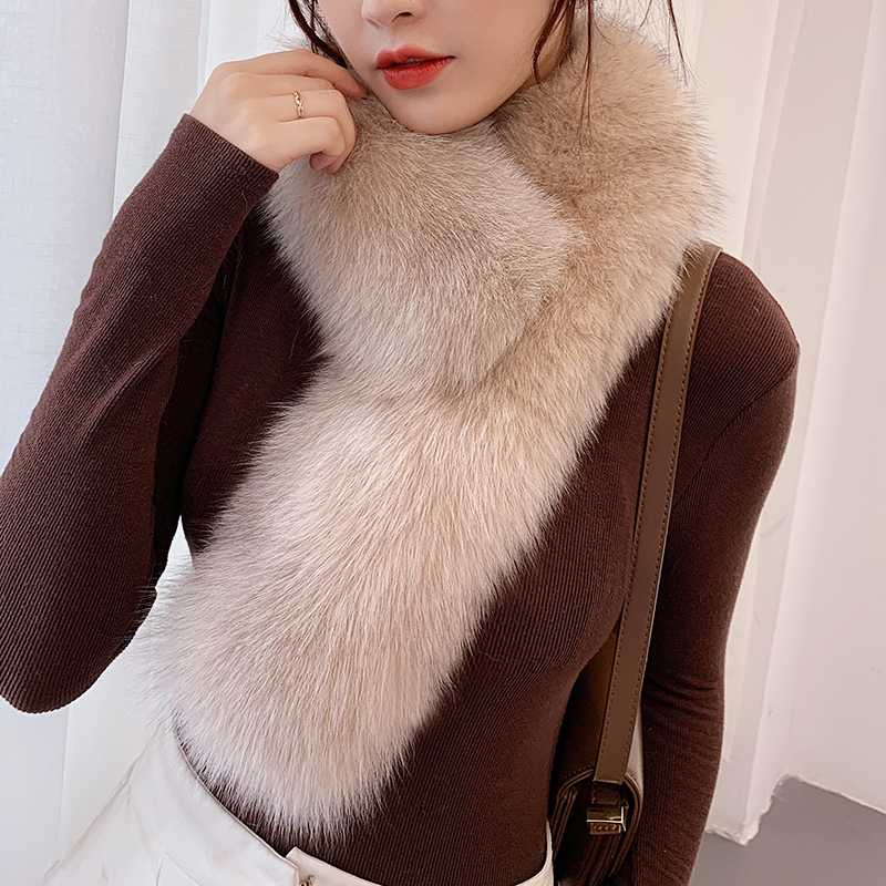 Lantafe Fox Fur Scarf Winter woman Scarf keep Warm Scarf With Clip Thick Winter Scarf Long Scarfs Colored Fur Outdoor