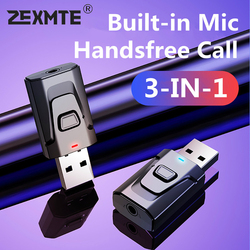 3 in 1 USB Bluetooth 5.0 Transmitter Receiver Mic EDR Adapter Dongle 3.5mm AUX for TV PC Headphones Home Stereo Car HIFI Audio