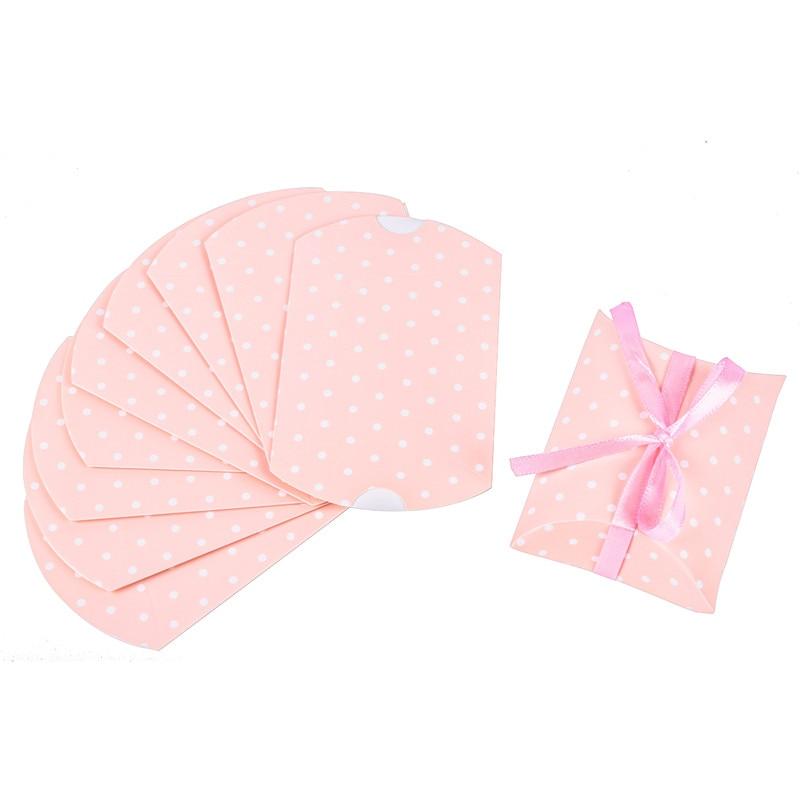 10 шт. коробка конфет сумка крафт бумага Подушка Форма свадебный подарок Коробки пирог вечерние коробка сумки эко дружественные крафт-продвижение - Цвет: pink with ribbon