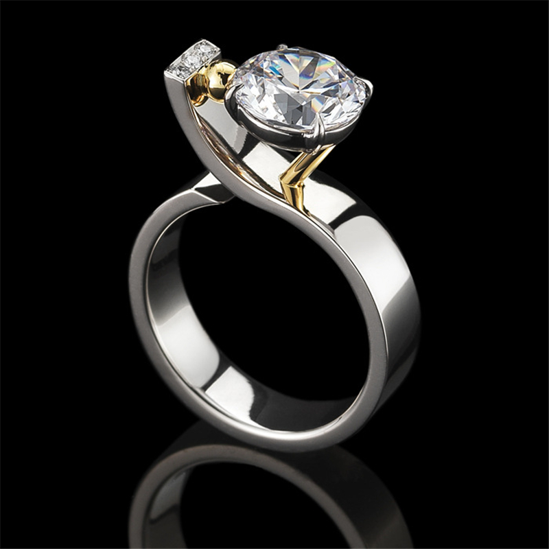 S925 Silver Color Diamond Ring For Women Wedding Gemstone Silver 925 Jewelry White Topaz 2 Carat Diamond Ring Box Bizuteria Girl