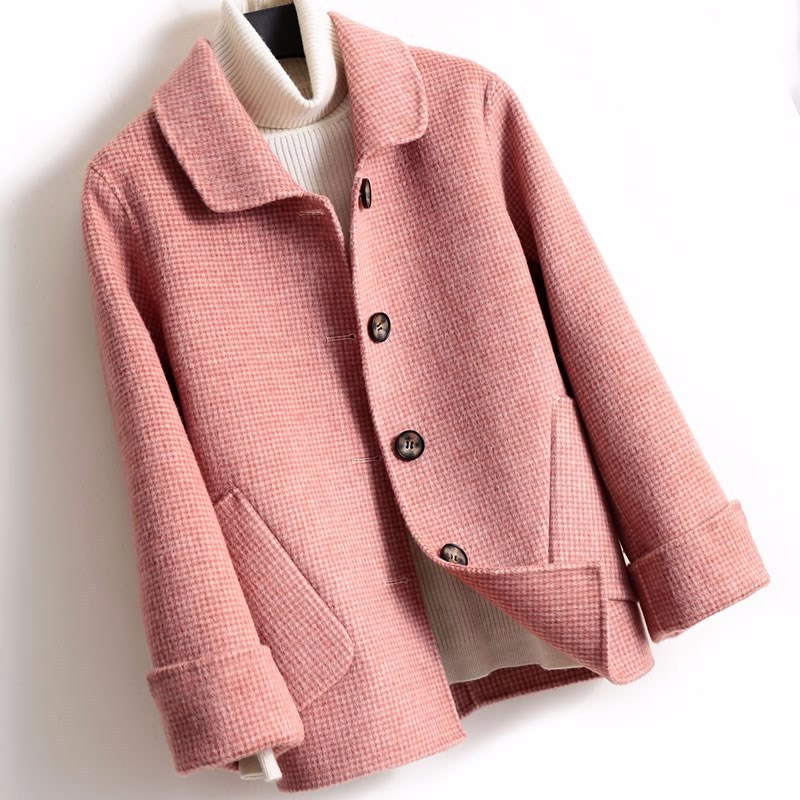 Short Plaid Double Wool Coat Women 2019 Arrival Single Breasted Turn-down Collar Winter Pure Wool Jacket Female Casaco Feminino