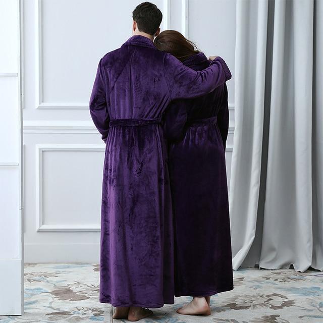 Unisex Thermal Flannel Extra Long Bathrobe 4