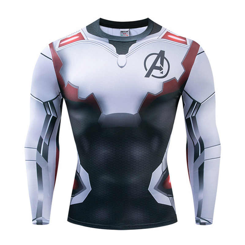 Marvel dos homens super-herói collants camisa de manga longa batman superman capitão américa o flash 3d fitness mma ufc rashguard t camisa