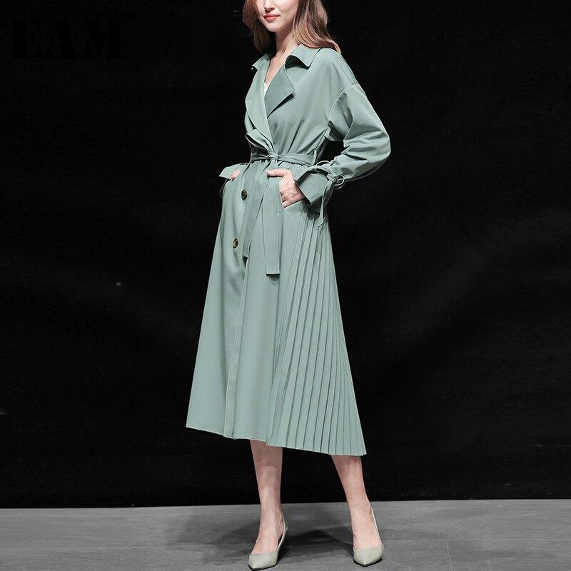 [EAM] Women Belt Double Breasted Pleated   Trench   New Lapel Long Sleeve Loose Fit Windbreaker Fashion Autumn Winter 2019 1B216