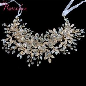 Image 2 - 愛きょう女性の結婚式のクリスタルヘッドバンドヘッドピースのヘアアクセサリージュエリー花嫁の花のラインストーンティアラ RE3247
