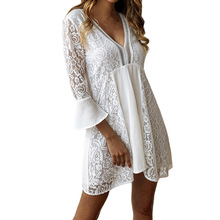 2019 Summer Solid Color Lace Party Dress Women Sexy V Neck Dress Ladies Casual Bell Sleeve White Dresses Vestidos Plus Size