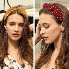 Kobiety szeroki łuk pleciony akcesoria opaska do włosów Polka Dot opaska do włosów; Opaska; Retro nakrycia głowy dla nastoletnich dziewcząt opaska dla dorosłych