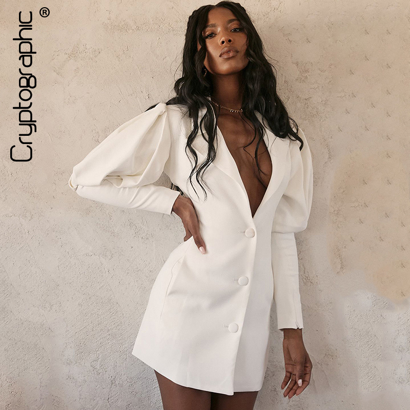 Cryptographic Long Female Blazer Autumn Notched Casual Deep V Single Breasted Blazers Fashion Puff Sleeve Solid Button Coats New