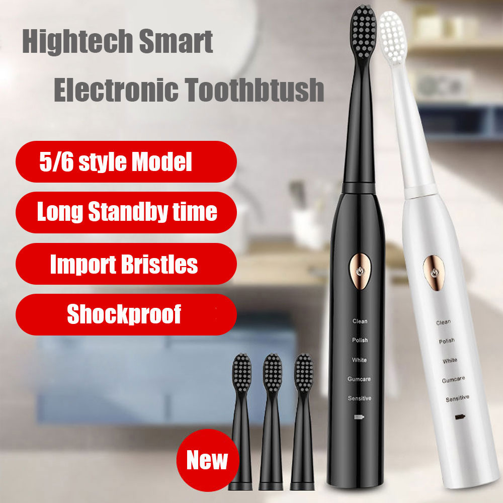 Electric Toothbrush Rechargeable buy one get one free Sonic Toothbrush 5 6 Mode Travel Toothbrush with 4 Brush Head Gift image