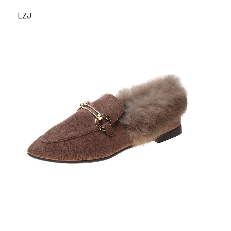 LZJ New 2019 Women's Pointed Shallow Mouth Set Foot Short Plush Warm Fashion Snow Boots Women's Winter Shoes Zapatos De Mujer 43