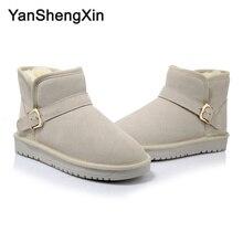 YANSHENGXIN Shoes Woman Boots Cowskin Snow Warm Wool Blended Women Winter 2 Color Buckle Ankle Ladies Booties