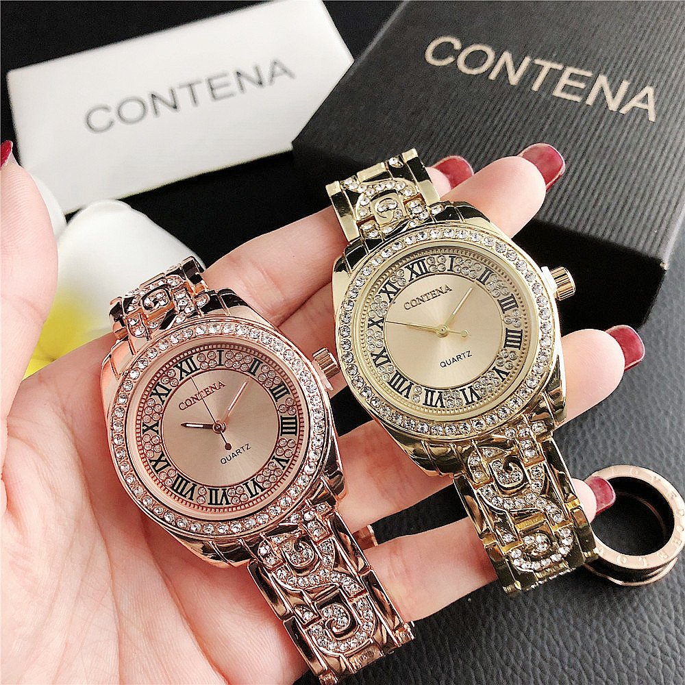 1011     Hot Sale Diamond Numeral Alloy Watch Small Dial Women's Watch