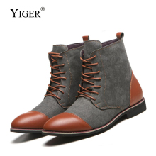 YIGER New Men boots Super large size canvas leather man lace-up causal desert male martins  0351