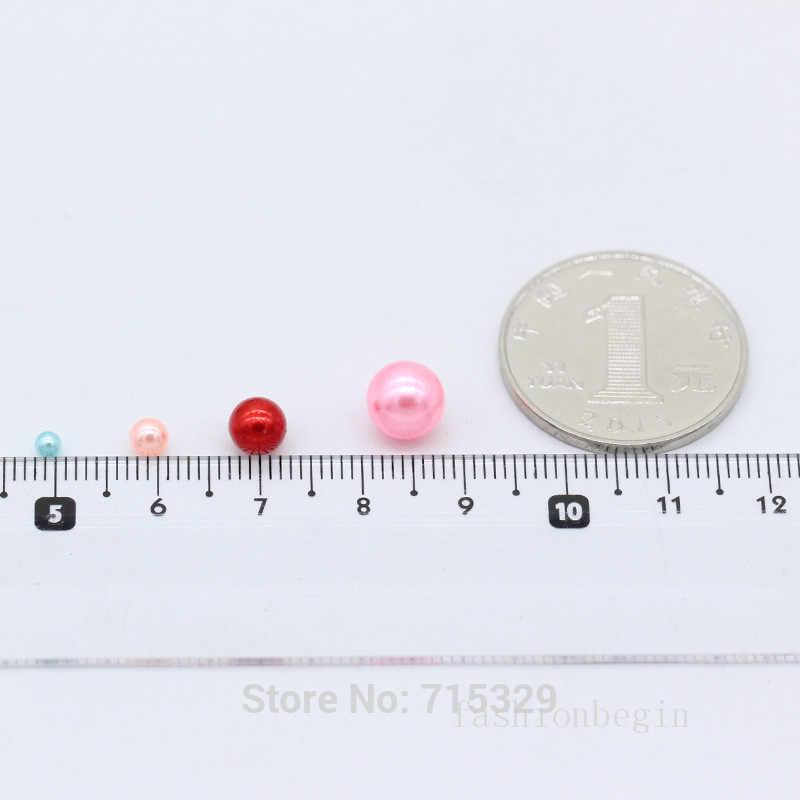 3-8mm Acrilico No Foro Rotondo Della Perla di fascini Allentati Branelli della sfera Dei Monili artigianato fiore di Rosa Che Fanno Cosmetico Dell'insieme di spazzola barile Decorazione