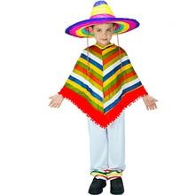 Мексиканская традиционная одежда Детские праздничные костюмы на Хэллоуин Fiesta тематические костюмы в полоску для мальчиков костюм плащ для косплея+ брюки