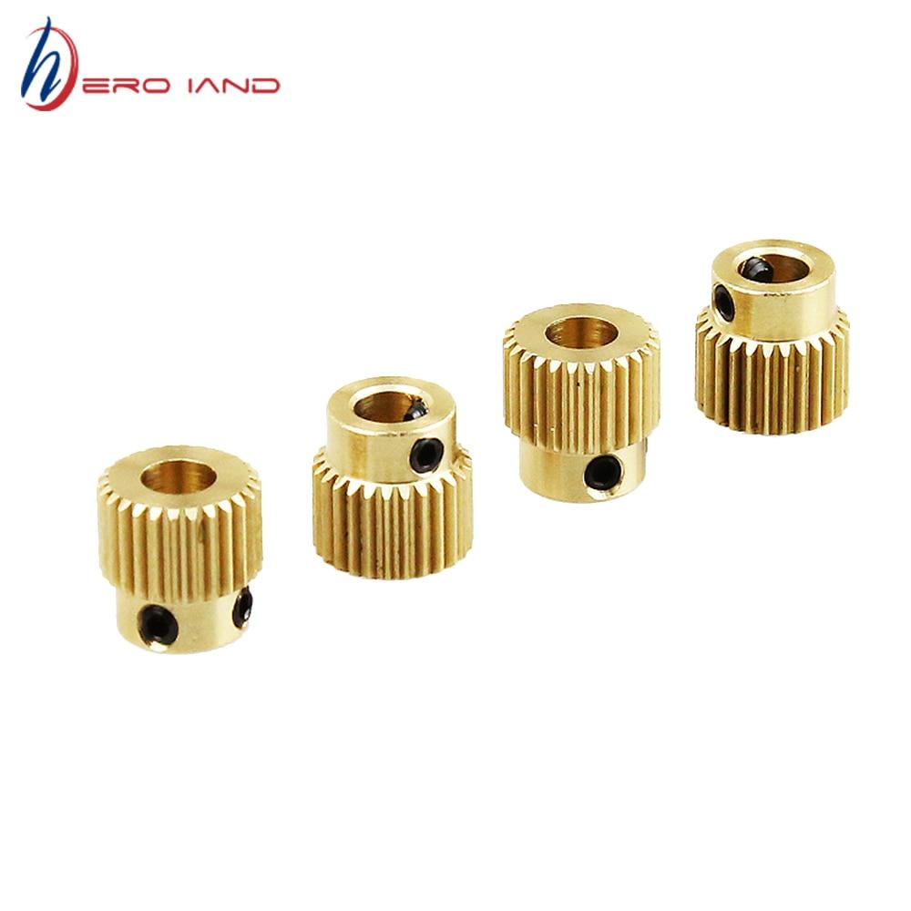 4 шт. латунная шестерня, 26 зубьев, экструзионное колесо 5 мм М3, винт MK7/MK8, экструдер для 3D-принтера anet a8 a6, комплекты деталей