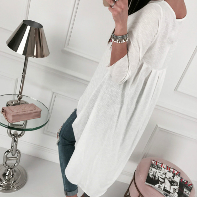Asymmetrical Tunic Tops Women's Clothes Blouse O-neck Long Sleeve Top Irregular Blusas Loose Plus Size Autumn Shirts GV930