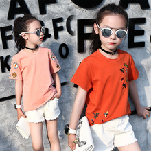 Fashion Children's Summer Clothes Short Sleeve T-shirt For Baby Grils Kids Pink Cotton Embroidery Blouses T-shirt For Teenager