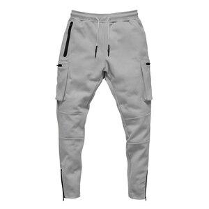 Image 5 - Mens Fitness Training Running Pants Multi zip pocket Cargo Workout Sport Trousers Cotton Men Gym Jogging Tactical Combat Pants