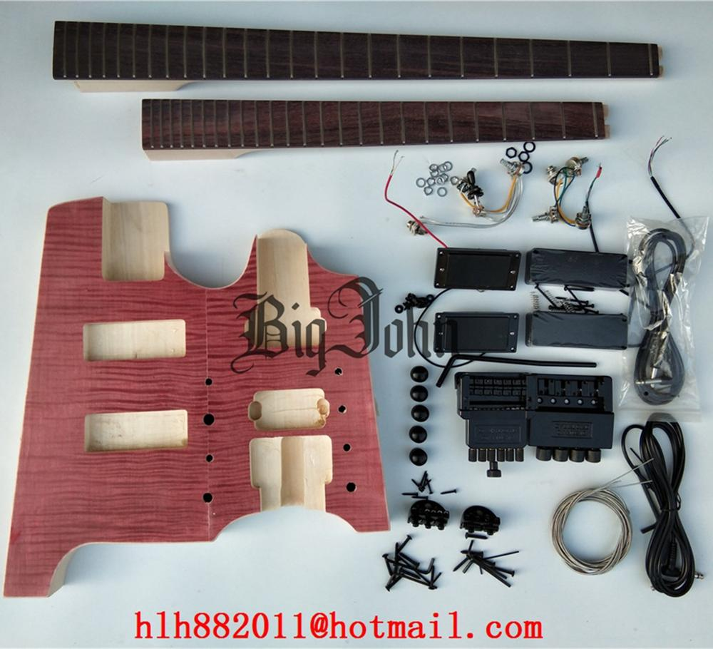 Unfinished double neck headless electric guitar and bass without paint with hardware BJ-283 image