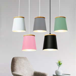 Wooden Nordic Pendant Lights Restaurant Light Fixtures E27 Aluminum Lampshade Pendant lamps For Home Lighting Hanging Lamp(China)