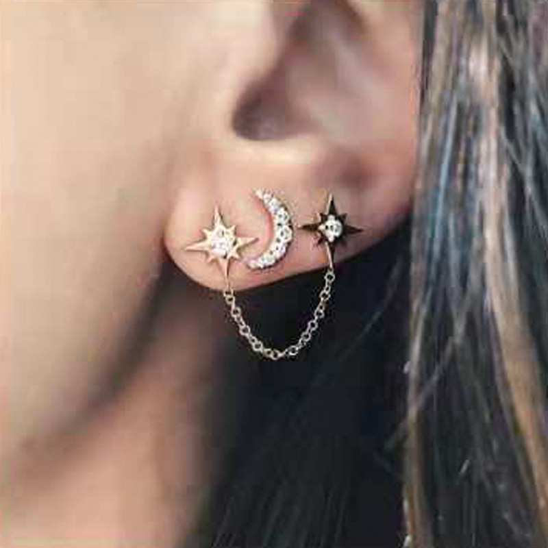 Minimalist Statement Stars Moon Earring Silver Gold Color Stud Earrings Fashion Wedding Party For Women Jewelry Accessories