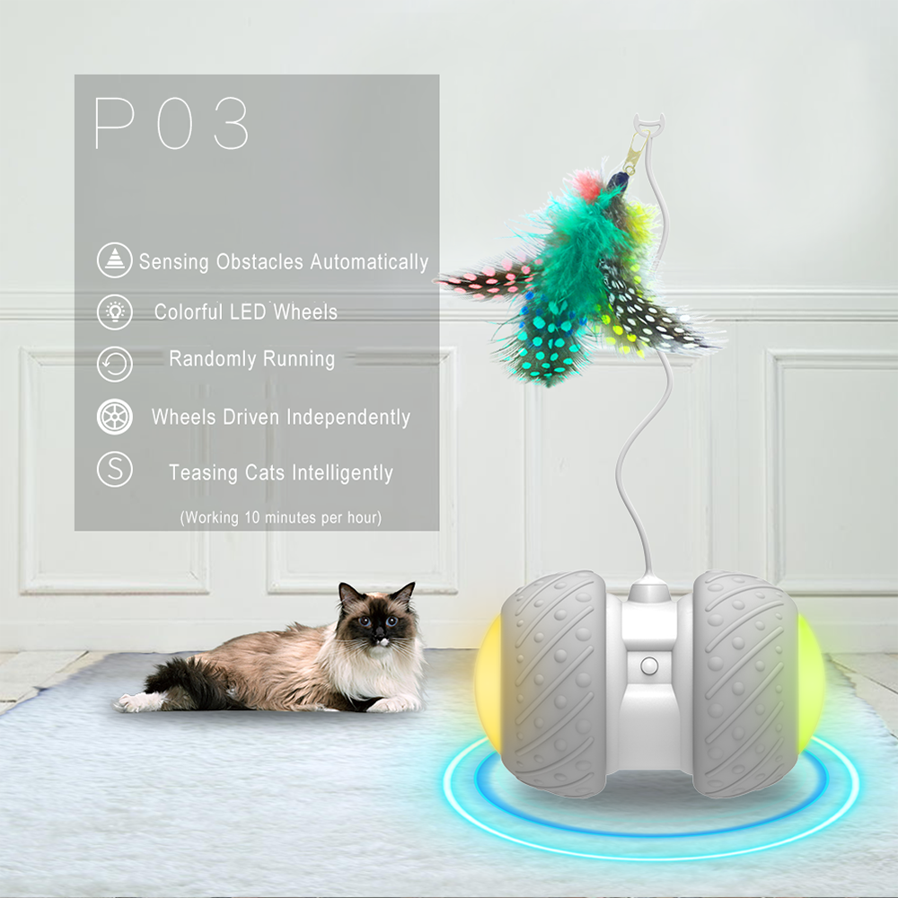 Electronic Smart Pet Toy and Automatic Obstacles Sensing Cat Teaser with LED Light and Wheels 1