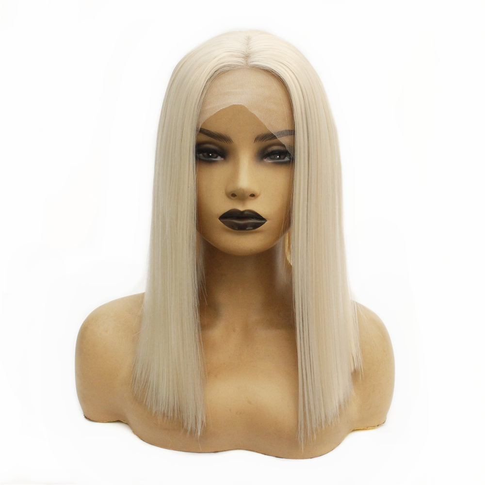 Short Bob Platinum Blonde Wig With Natural Hairline Synthetic Lace Front Wig  Heat Resistant Glueless Straight Wigs For Women
