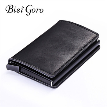 BISI GORO 2019 Metal Card Wallet Vintage Card Case  ID Credit Card Holder With RFID Automatic Money Cash Clip Business Card Case