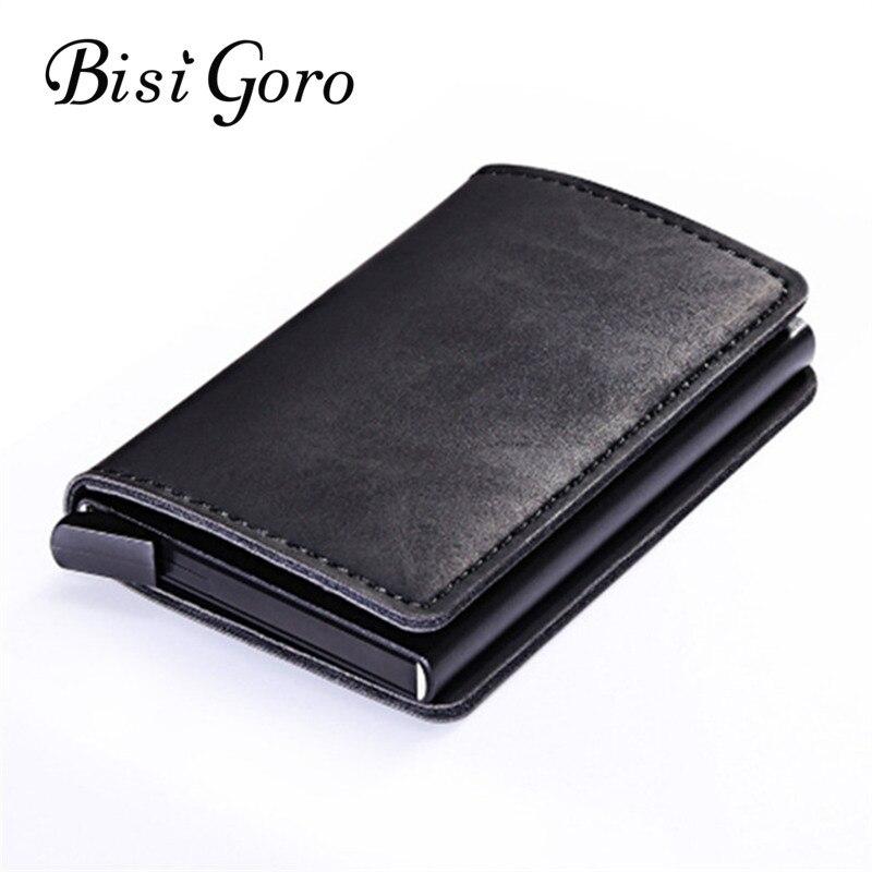 BISI GORO 2019 Metall Karte Brieftasche Vintage Karte Fall ID Kreditkarte Halter Mit RFID Automatische Geld Bargeld Clip Business karte Fall