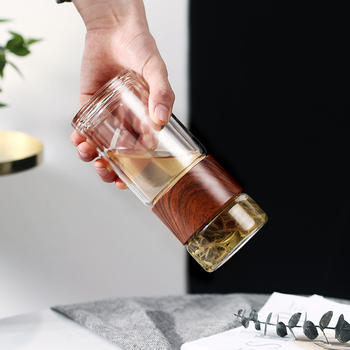Tea Bottle Glass Bottled Water Bottle Infuser With Filter Strainer Borosilica Double Wall Drink Wood grain 200ml Car Drinkware 3