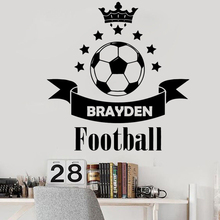 Soccer Football Custom Name Wall Stickers for Nursery Kids Room Boys Removable Wallpaper Decal Bedroom Home Sticker Murals LW384