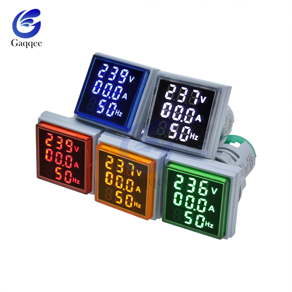 3 In 1 AC 60~500V Ammeter Voltmeter HZ Hertz Frequency Meter 22mm Digital Current Voltage Amp Signal Light LED Lamp Indicator