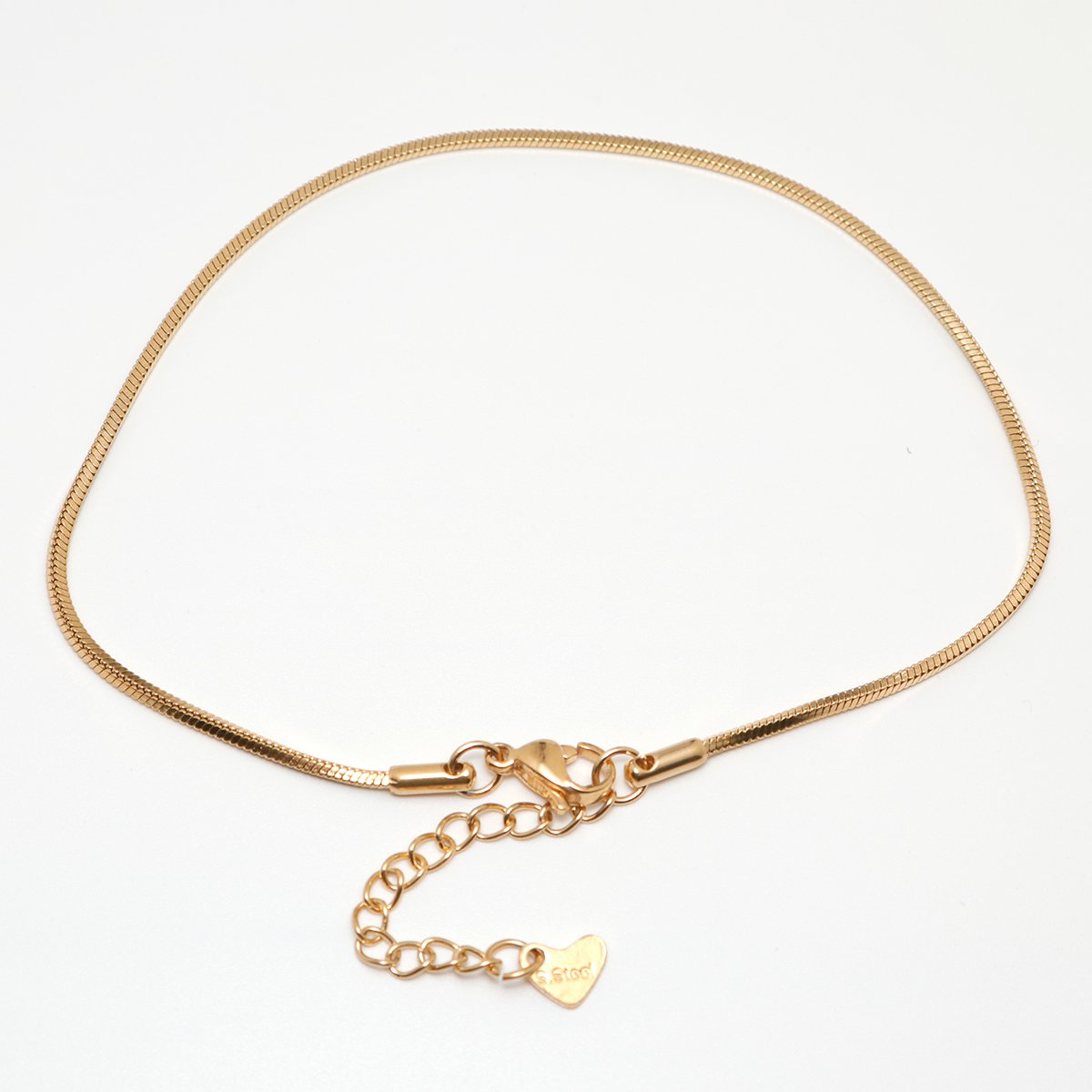 304 Stainless Steel Anklet Gold Color 23.3cm(9 1/8