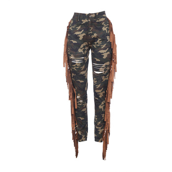 Stretchy Fringed Ripped Jeans Women Camouflage Distressed Mid-Rise Denim Pants Tassel Trousers For Women Pencil Skinny Jeans цена 2017