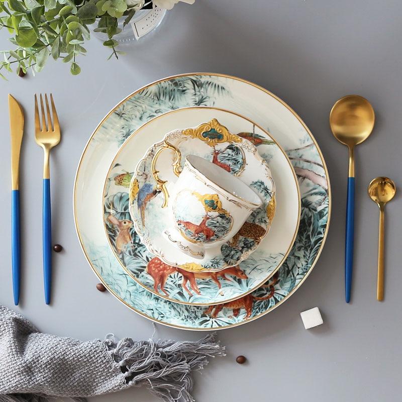 Lion Design plat or jante assiette principale circulaire céramique Animal forêt série vaisselle alimentaire plateau français nourriture plats 8/10 pouces