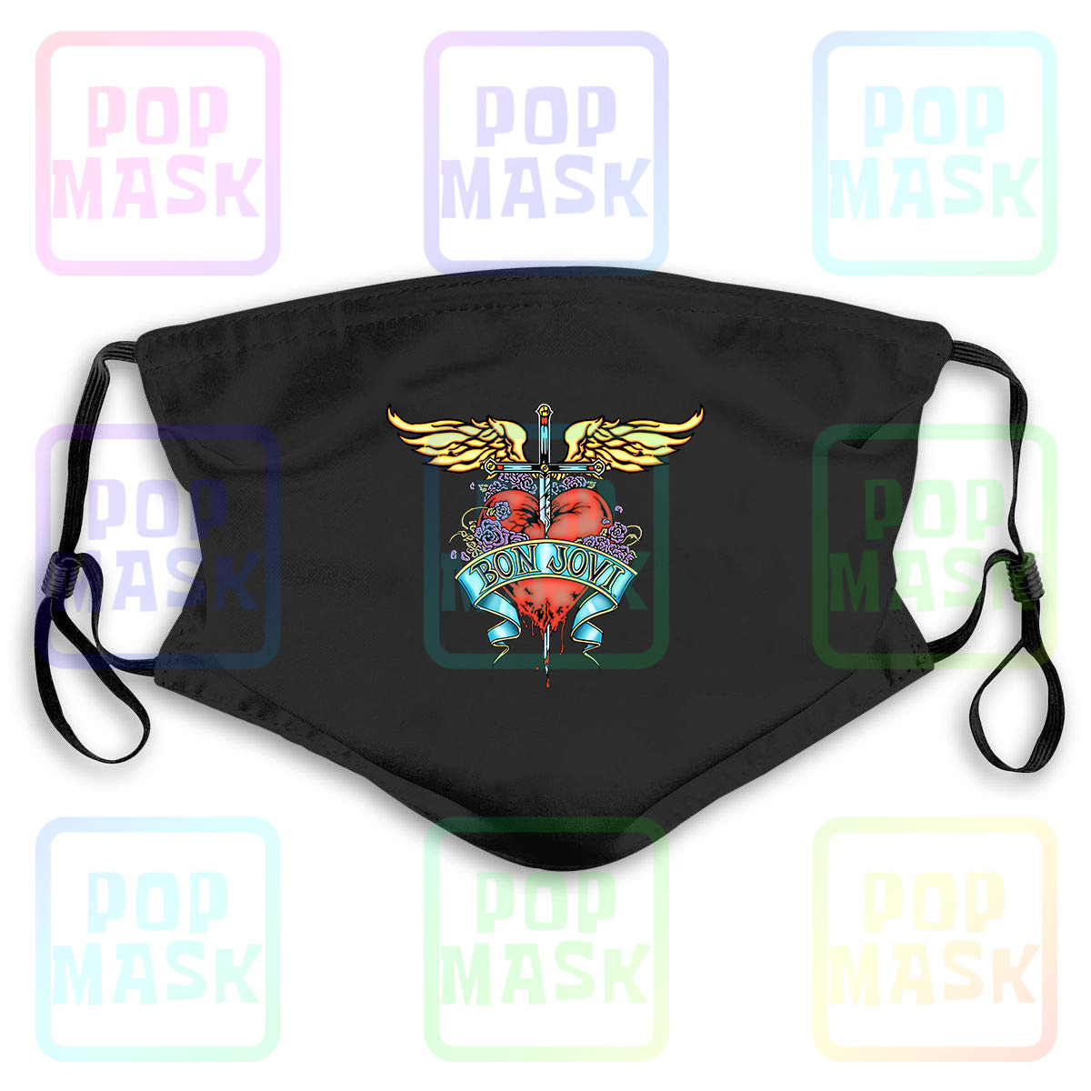 Bon Jovi Heart And Dagger Washable Reusable Mask With 2Pcs PM2.5 Filters 5 Layers