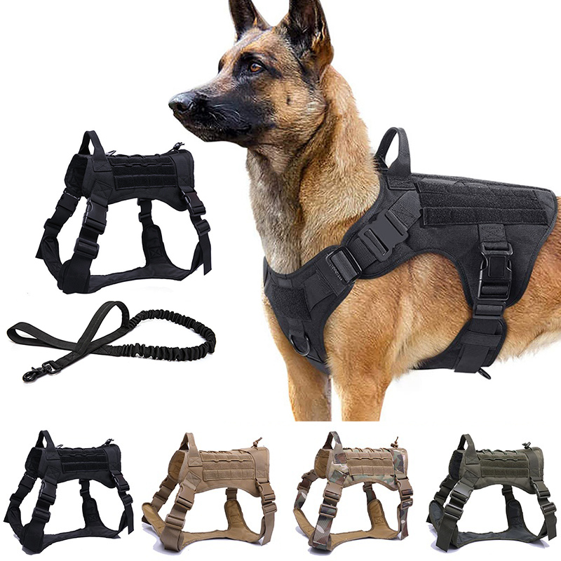 Dog Harness and Leash Set Outdoor Camouflage Tactical Dog Vest German Shepherd Harness Durable Dog Leash Training Harness