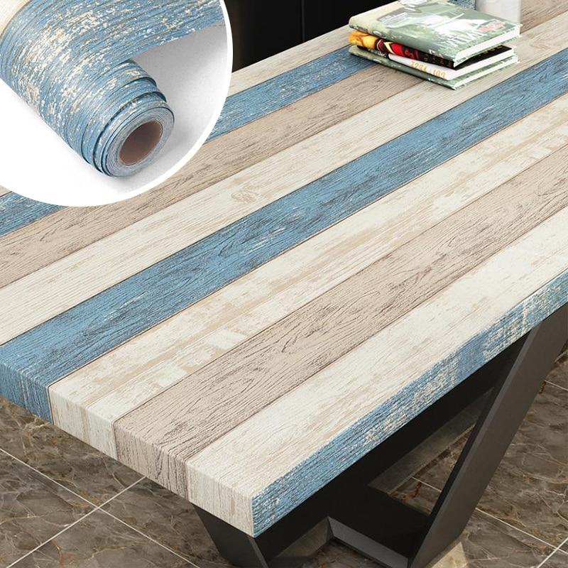 Papel pintado autoadhesivo impermeable papel de Contacto de vinilo papel de pared de madera para dormitorio pegatina para armario muebles de mejora del hogar