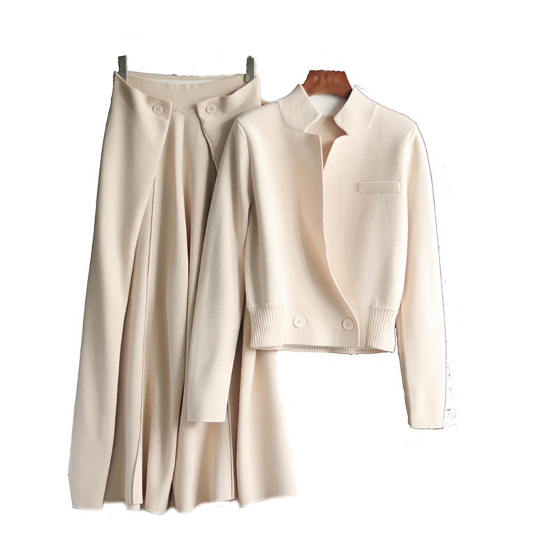 Top de punto de lana + Pantalones de pierna ancha conjunto de dos piezas suéter de punto de primavera Cardigan abrigo con pantalones de piernas anchas tejidas