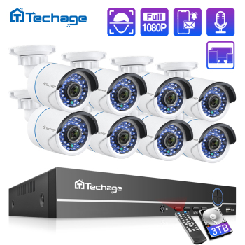 H.265 8CH 1080P 2MP POE NVR Kit CCTV Security System Audio IP Camera IR Outdoor Waterproof CCTV Video Surveillance Camera Set techage h 265 8ch 2mp poe security camera system 1080p poe nvr kit p2p cctv video surveillance outdoor audio record ip camera