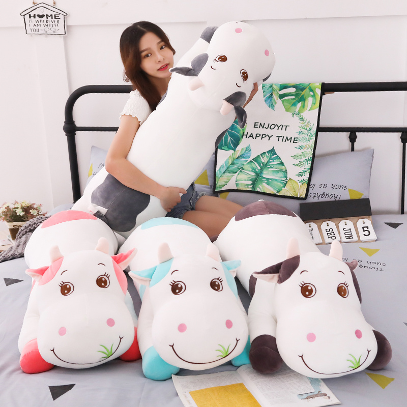 New Large Size Cute Animal Cartoon Cows Stuffed Plush Toy Super Comfortable Soft Toy Children Birthday Present Christmas Gift