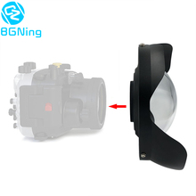 BGNing dalış balıkgözü geniş açı Lens 0.7 amplifikasyon M52/M67/M100 Sony A6 TG5 TG6 kamera Lens hood 100m/300ft su geçirmez