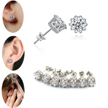 1 Pair Stainless Steel Shaped with Butterfly Clasp Silver Earrings Trendy Round Punk Ear Studs Earrings Women Men Earrings pair of rhinestoned alloy butterfly earrings